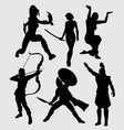 people with weapon silhouette vector image vector image