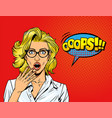 pop art surprised blonde girl vector image vector image