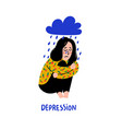 psychology depression sad unhappy girl sitting vector image
