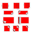 red paper square stickers with shadows vector image