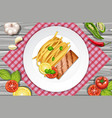 salmon steak and pasta on the plate vector image vector image