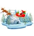 santa and sleigh with igloo vector image