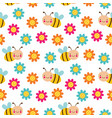 seamless cartoon pattern with bees and vector image vector image