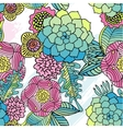 Seamless pattern kaleidoscope flowers succulent vector image