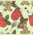 seamless pattern with colored bells gingerbread vector image