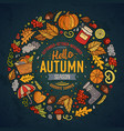 set of autumn cartoon doodle objects symbols and vector image vector image