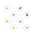set of baby icons flat style symbols with flowers vector image