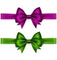 Set of Shiny Purple Green Satin Bows and Ribbons vector image vector image