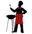 silhouette chef cooks barbecue steaks vector image