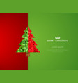 template christmas tree red and green background vector image