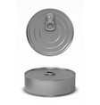 tin can fish or pet food mockup with pull ring vector image
