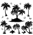 Tropical island palms and butterflies silhouettes vector image vector image