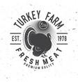 turkey farm badge or label vector image vector image