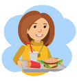 woman with a tray of food in his hands vector image vector image