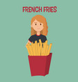 woman with french fries character vector image