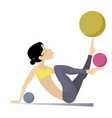 young woman do exercises with the balls vector image