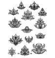 Large set of ornate vintage flower motifs vector image