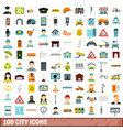 100 city icons set flat style vector image vector image