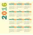 2016 year calendar english vector image vector image