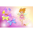 A fairy with the colorful butterflies vector image