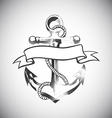 Anchor icon tattoo logo grunge design floral hand vector image