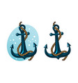 anchor with rope cartoon vector image