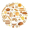 Bakery products icon set in a round shape Flat vector image vector image