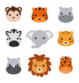 bashower cute safari animals set 9 animal vector image
