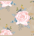 beige roses with yellow herbs and blue succulent vector image
