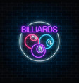 billiard balls in circle frame in neon style vector image vector image