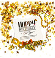 birthday card with golden stars colorful curling vector image