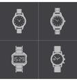 black wristwatch icons set vector image vector image