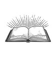 book and light rays sketch vector image