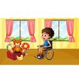 Boy in wheelchair vector image vector image