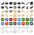 bread set icons in cartoon style big collection vector image vector image