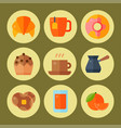 breakfast healthy food meal icons drinks flat vector image vector image