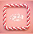 candy cane frame on polka dot background vector image vector image