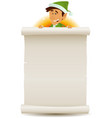 christmas elf and gift list on parchment vector image vector image