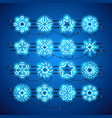 christmas neon snowflakes blue vector image vector image