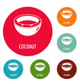 coconut icons circle set vector image vector image