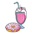 donuts and milk shake vector image