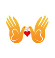 dove and hands abstract love concept icon vector image