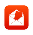 envelope icon digital red vector image