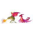 fairy tale dragons magic fire breathing creatures vector image