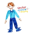 Felt pen drawing of boy vector image vector image