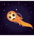 flying soccer ball on fire vector image vector image
