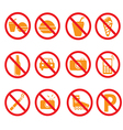 Forbidden icons set vector image
