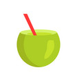 fresh summer cocktail in cute cuted green coconut vector image
