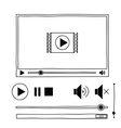 Hand draw sketch doodle video player for web vector image vector image