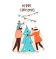 happy family decorating christmas tree with vector image